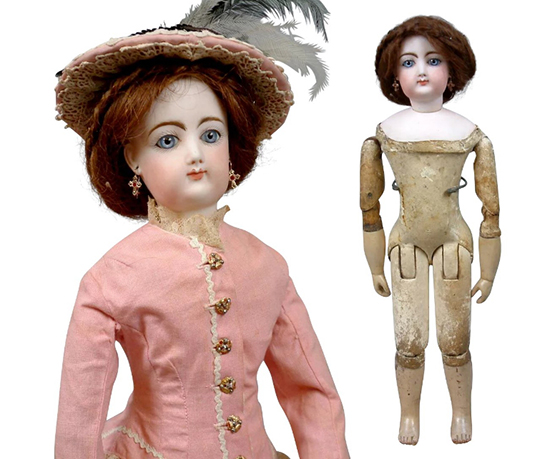 Кукла 45 дюймов, голова Francois Gaultier Poupee, тело Jumeau Bebe. Франция, 1870-е гг.