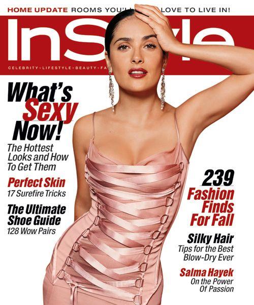 Сельма Хайек на обложке журнала InStyle в платье от Версаче