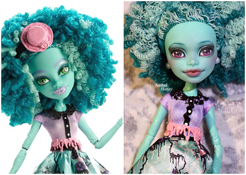 Кукла Монстер Хай Хани Свамп  Слева оригинальная, справа кастомизированная