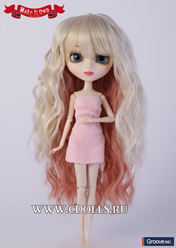 Двухцветный волнистый парик размер 22-25 см для кукол Pullip (Пуллип) / DAL (Дал) / Byul (Биул) / Isul (Исул) / Taeyang
