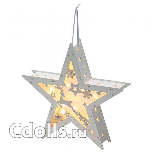 НОВОГОДНЕЕ УКРАШЕНИЕ С ПОДСВЕТКОЙ SUKI FROZEN FOREST ORNATE LIGHT-UP STAR (ЗУКИ ЗВЁЗДОЧКА ИЗ КОЛЛЕКЦИИ ЗАМОРОЖЕННЫЙ ЛЕС)