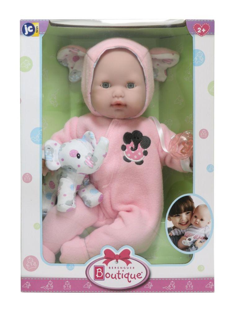 КУКЛА BERENGUER BOUTIQUE PINK SOFT BODY BABY DOLL PLAY ELEPHANT  (БЕРИНЖЕР ДЕВОЧКА В РОЗОВОМ СО СЛОНЁНКОМ 38 СМ)