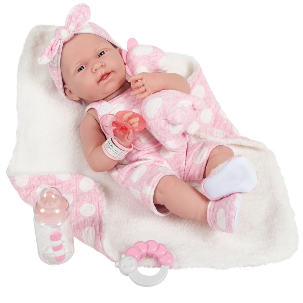 КУКЛА BERENGUER LA NEWBORN 15 BABY DOLL IN PINK AND DELUXE ACCESSORIES (БЕРИНЖЕР НЬЮБОРН В РОЗОВОМ С ДИНОЗАВРОМ 38 СМ)