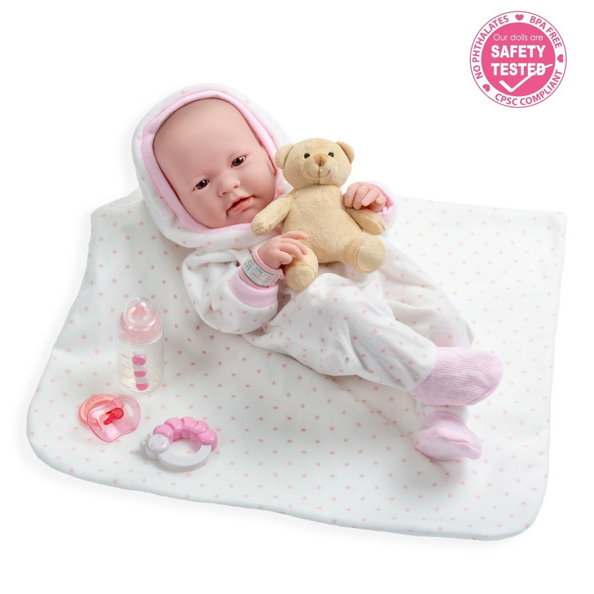 Кукла Berenguer Boutique Baby Doll in Pink in 9 Piece Deluxe Gift Set (Беринжер девочка в розовом 38 см с подарочным набором из 9 предметов)